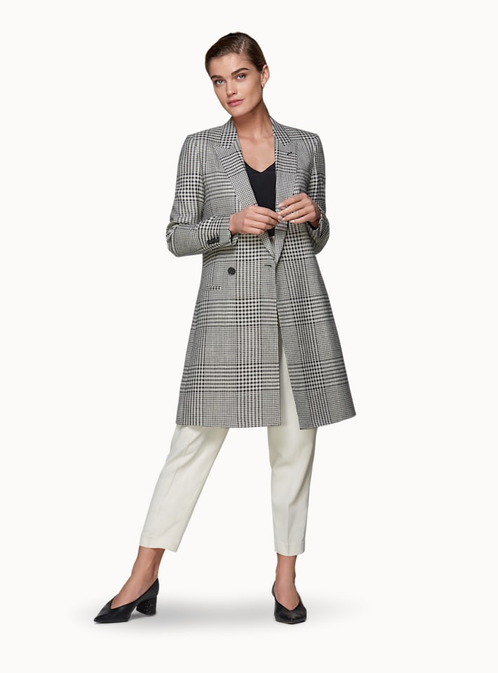 Grey Checked Overcoat