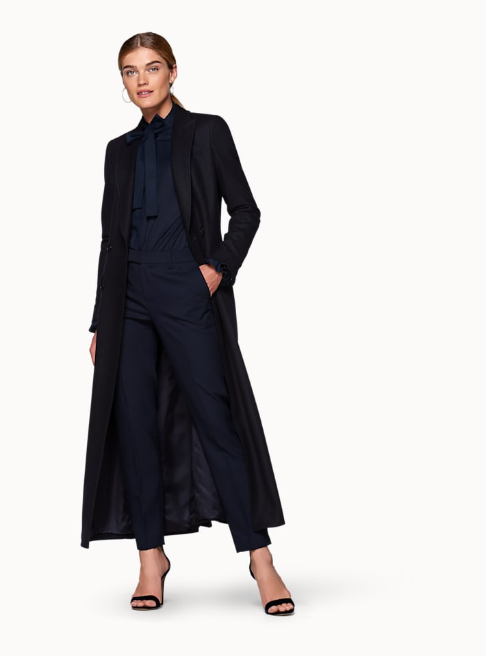 Navy  Double Breasted Coat