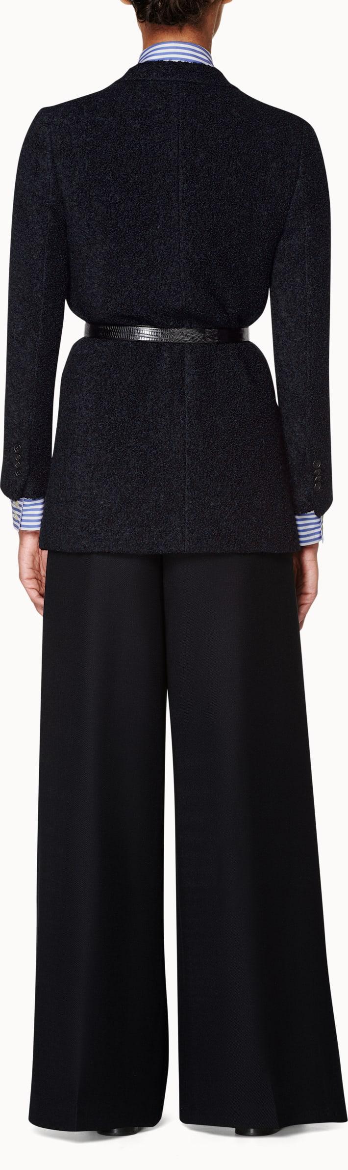 Navy Plain Teddy Coat