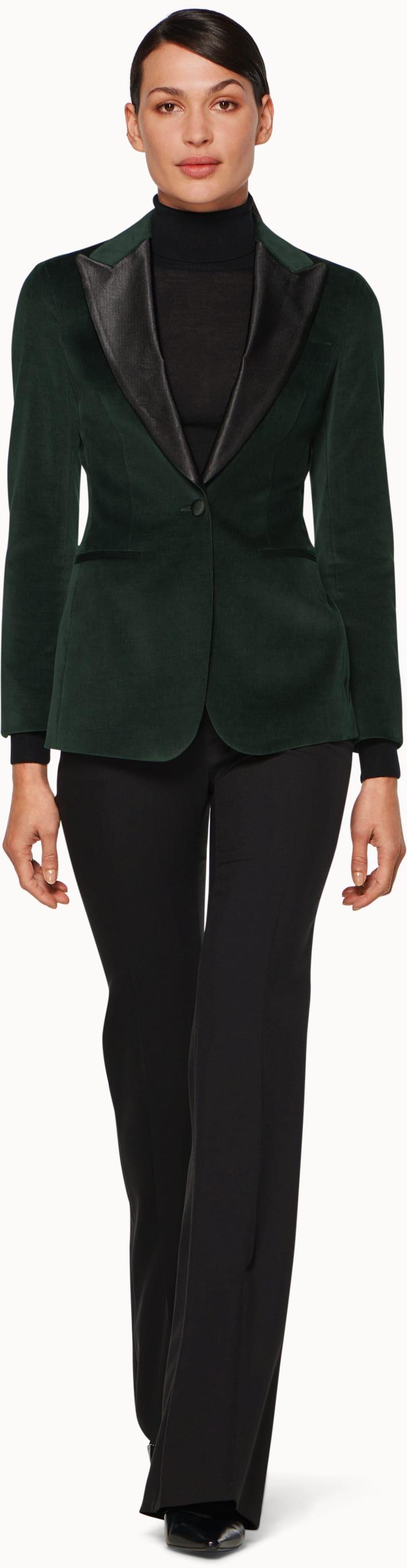 Cameron Forest Green Plain Velvet Jacket