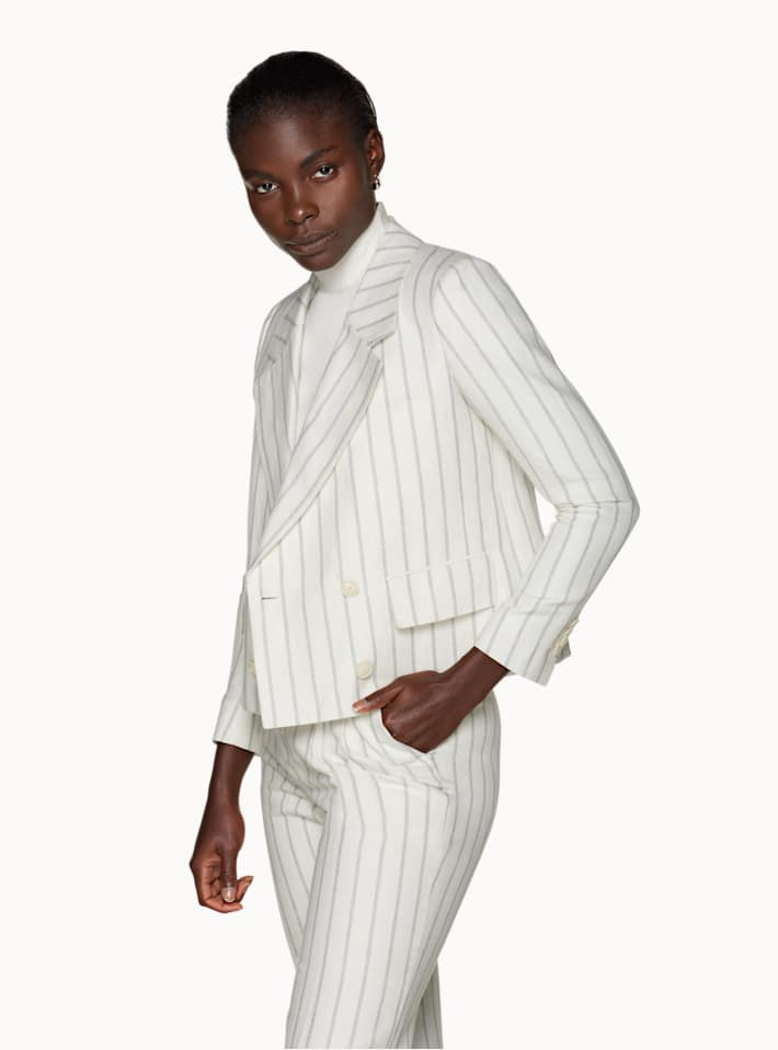 Joss Off White Striped Suit
