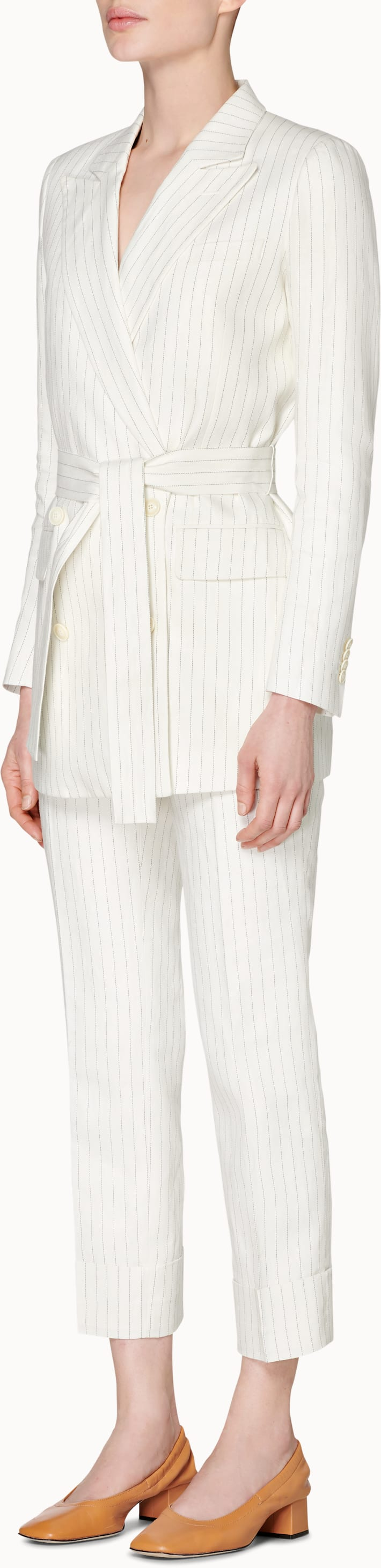 Tory Off White Striped Suit