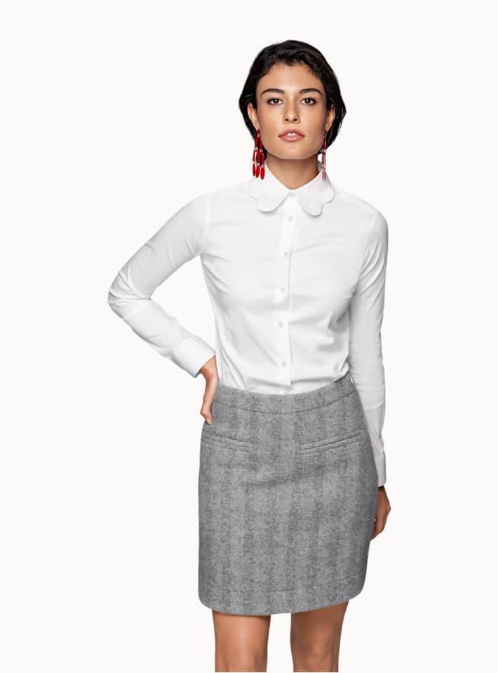 White Plain Scalloped Collar Shirt