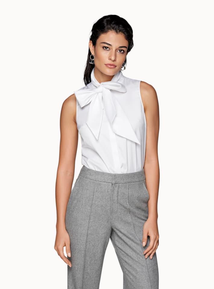 White Plain Bow Shirt