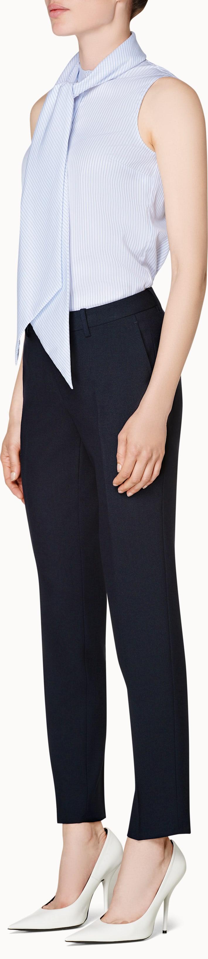 Blue Striped Bow Shirt