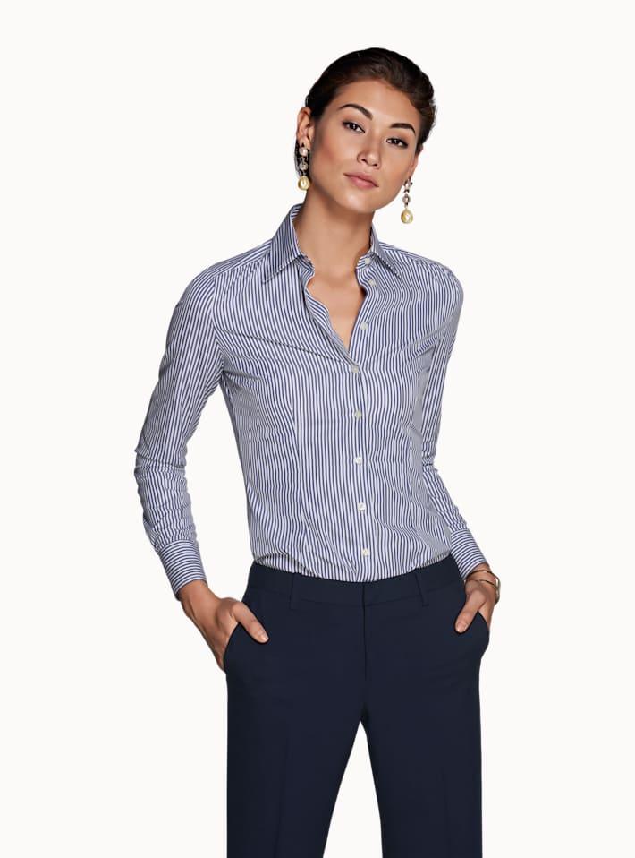 Navy Striped Basic Shirt