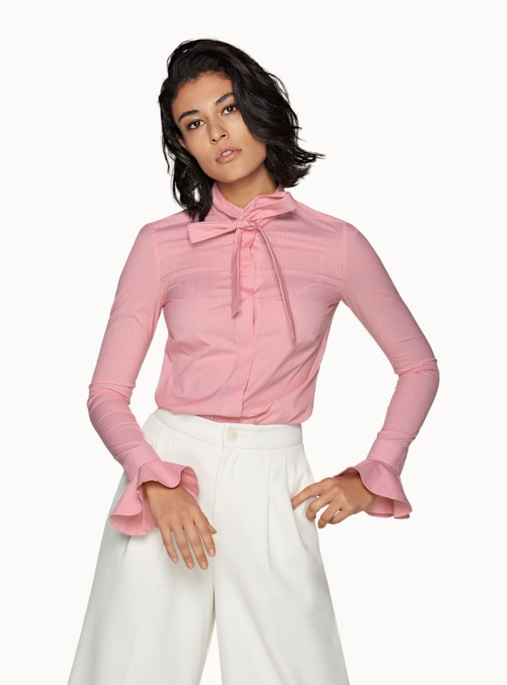 Pink Striped Ruffled Sleeve Shirt