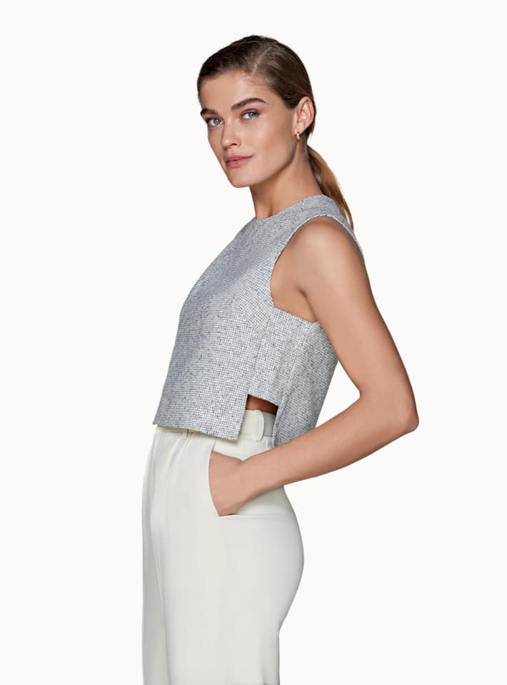 Grey  Cut-Out Top