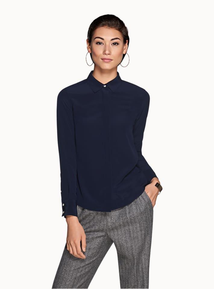Navy Plain Silk Shirt