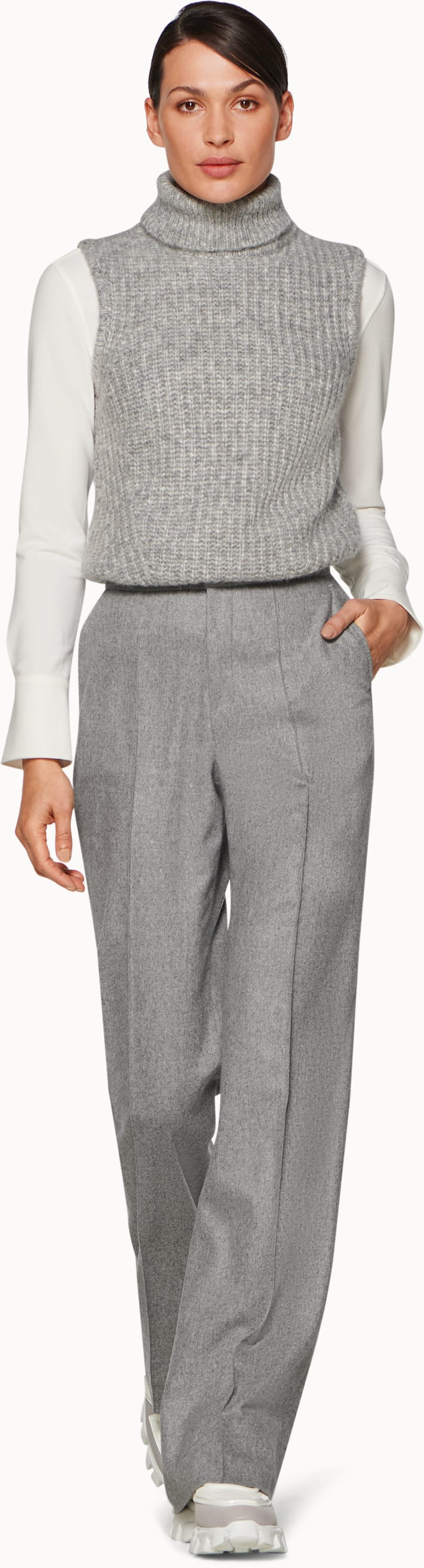 Ally Light Grey Plain Trousers