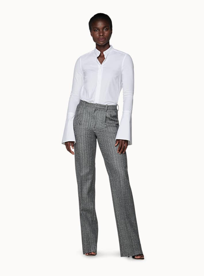 Ally Grey Herringbone Trousers