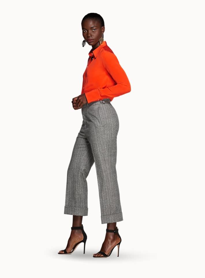 Alana Grey Herringbone Trousers