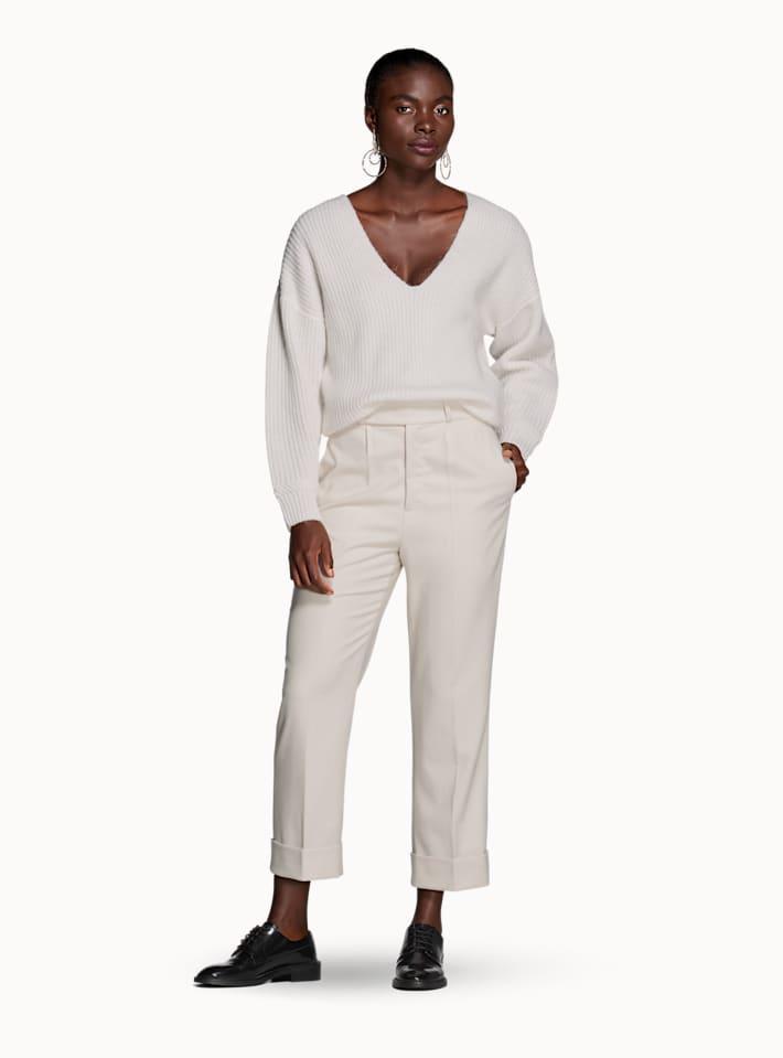 Alana Off White Plain Trousers